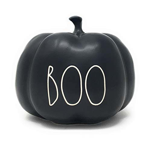 RAE DUNN BY MAGENTA Boo Black Ceramic LL Medium Size Decorative Halloween Pumpkin With White Letters 2020 Limited Edition 0