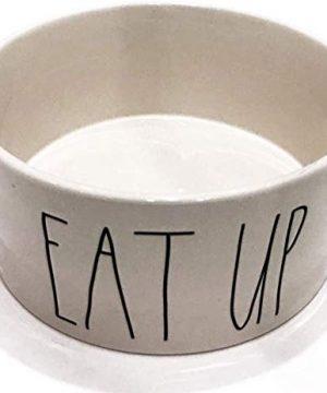 RAE DUNN BY MAGENTA Extra Large Ceramic Dog Feeding Bowl With Satin Finish EAT UP Diameter 8 0 300x360