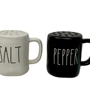 RAE DUNN MAGENTA CERAMIC SALT PEPPER SET Artisan Collection White Salt Shaker With Large SALT In LL Font And Black Pepper Shaker With Large Pepper In LL Font Will Look Great Your Kitchen 0 300x360