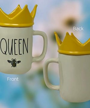 RAE DUNN QUEEN BEE MUG WITH YELLOW CROWN LID TOPPER Artisan Collection By Magenta Perfect Match To All Of Your Rae Dunn Collection And Home Kitchen Decor Perfect For The Queen Bee In Your Life 0 0 300x360