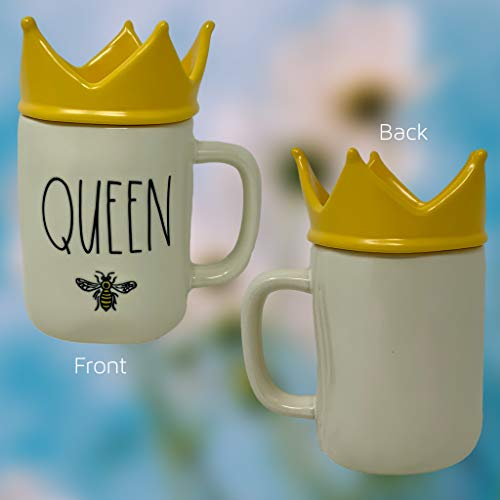 RAE DUNN QUEEN BEE MUG WITH YELLOW CROWN LID TOPPER Artisan Collection By Magenta Perfect Match To All Of Your Rae Dunn Collection And Home Kitchen Decor Perfect For The Queen Bee In Your Life 0 0