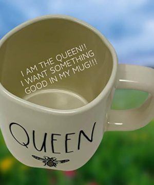 RAE DUNN QUEEN BEE MUG WITH YELLOW CROWN LID TOPPER Artisan Collection By Magenta Perfect Match To All Of Your Rae Dunn Collection And Home Kitchen Decor Perfect For The Queen Bee In Your Life 0 1 300x360
