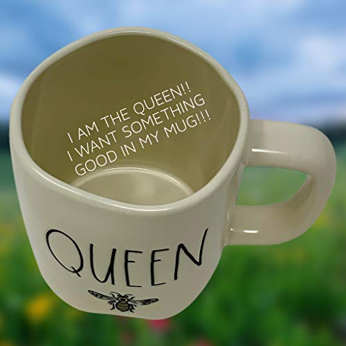 RAE DUNN QUEEN BEE MUG WITH YELLOW CROWN LID TOPPER Artisan Collection By Magenta Perfect Match To All Of Your Rae Dunn Collection And Home Kitchen Decor Perfect For The Queen Bee In Your Life 0 1