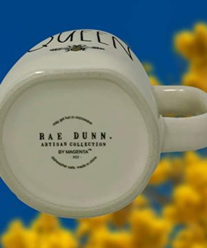 RAE DUNN QUEEN BEE MUG WITH YELLOW CROWN LID TOPPER Artisan Collection By Magenta Perfect Match To All Of Your Rae Dunn Collection And Home Kitchen Decor Perfect For The Queen Bee In Your Life 0 3 300x360