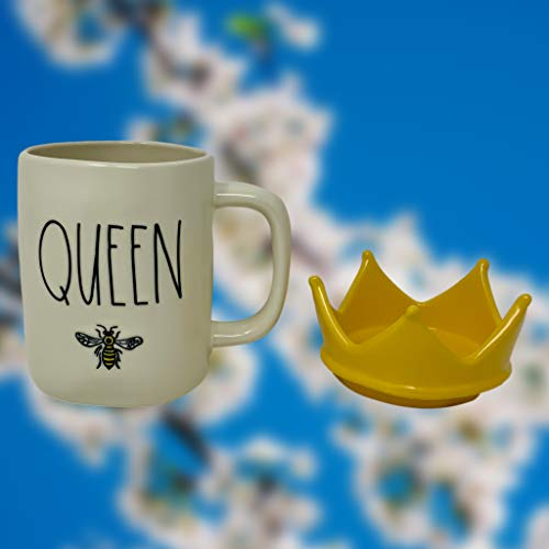 RAE DUNN QUEEN BEE MUG WITH YELLOW CROWN LID TOPPER Artisan Collection By Magenta Perfect Match To All Of Your Rae Dunn Collection And Home Kitchen Decor Perfect For The Queen Bee In Your Life 0 4