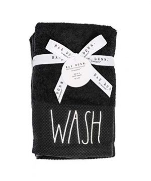 RAE Dunn By Magenta True Black Pique Cuff Hand Towels Set Of 4 WASH In White Lettering With Ribbon And Tag 0 1 300x360