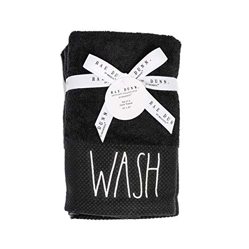 RAE Dunn By Magenta True Black Pique Cuff Hand Towels Set Of 4 WASH In White Lettering With Ribbon And Tag 0 1