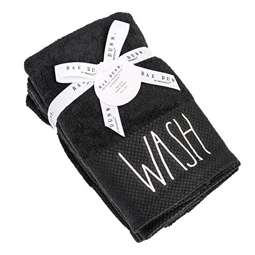 RAE Dunn By Magenta True Black Pique Cuff Hand Towels Set Of 4 WASH In White Lettering With Ribbon And Tag 0