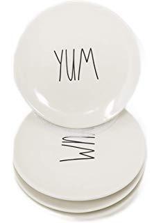 Rae Dunn AppetizerDessertBread And Butter Plates YUM 4 Pack 625 Diameter 0