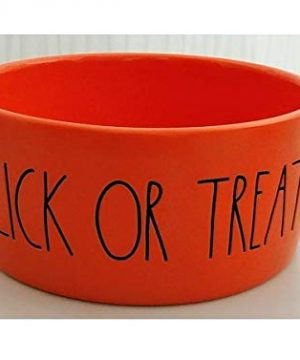 Rae Dunn Artisan Collection 6 In Halloween Lick Or Treat Solid Orange Dog Pet Bowl LL 0 300x360