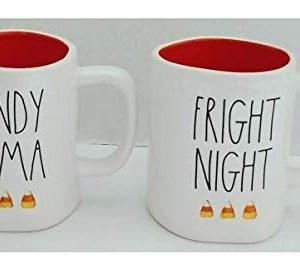 Rae Dunn Artisan Collection By Magenta Candy Coma And Fright Night With Candy Corn Design Orange Interior Halloween Set Of 2 Coffee Tea Mug LL 0 300x279