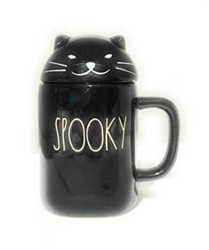 Rae Dunn Artisan Collection By Magenta Solid Black Spooky With Cat Face Topper Halloween Coffee Tea Mug 0 300x360