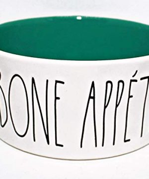 Rae Dunn BON APPETITE In Large Letters LL With Turquoise Blue Interior 6 Inch Round Dog Cat Pet Cereal Soup Bowl By Magenta 0 300x360