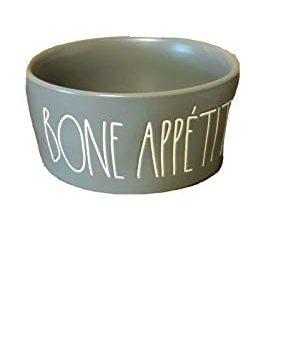 Rae Dunn BONE APPETIT 6 Gray Ceramic Dog Bowl 0 281x360