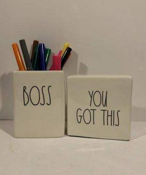 Rae Dunn BOSS Pencil Holder YOU GOT THIS Paperweight Set Ceramic Office Desk Organizer Friend Boy Father Mother Co Worker Gift 0 0 300x360