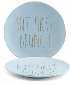Rae Dunn BUT FIRST BRUNCH Large 11 Dinner Plates Set Of 2 Ceramic Light Blue With Gold Letters 0 300x360
