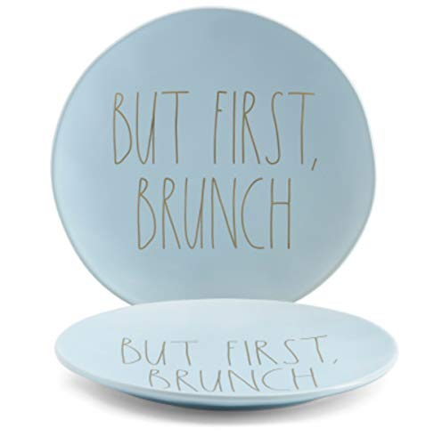 Rae Dunn BUT FIRST BRUNCH Large 11 Dinner Plates Set Of 2 Ceramic Light Blue With Gold Letters 0