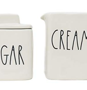 Rae Dunn By Magenta 2 Piece SUGAR CREAM Ceramic LL Square Sugar Bowl Creamer Set 0 300x312