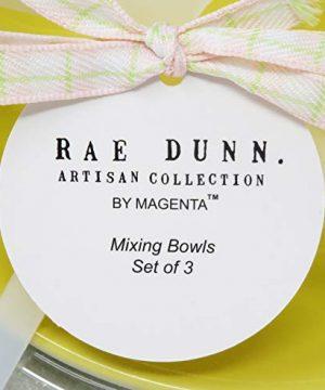 Rae Dunn By Magenta 3 Piece CRACK ME UP HOP TO IT BEAT IT Pastel Light Pink Blue Yellow Ceramic LL Nesting Serving Mixing Bowl Set 2020 Limited Edition 0 2 300x360
