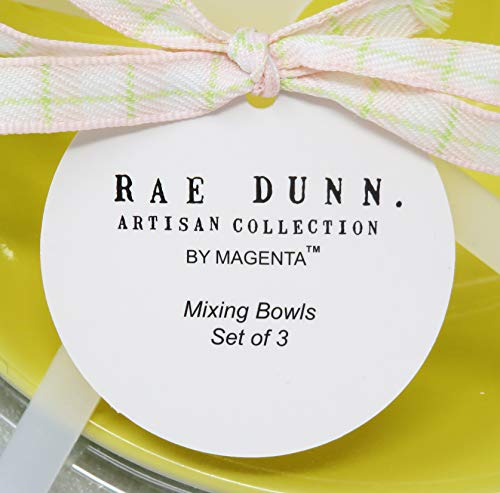 Rae Dunn By Magenta 3 Piece CRACK ME UP HOP TO IT BEAT IT Pastel Light Pink Blue Yellow Ceramic LL Nesting Serving Mixing Bowl Set 2020 Limited Edition 0 2