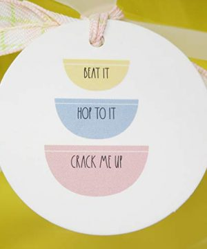 Rae Dunn By Magenta 3 Piece CRACK ME UP HOP TO IT BEAT IT Pastel Light Pink Blue Yellow Ceramic LL Nesting Serving Mixing Bowl Set 2020 Limited Edition 0 3 300x360