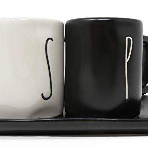 Rae Dunn By Magenta 3 Piece S P Mug Shaped Ceramic LL White Salt Black Pepper Shakers With Black Ceramic Tray 0 300x310