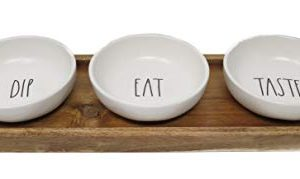 Rae Dunn By Magenta 4 Piece DIP EAT TASTE Ceramic LL Dip Bowl Serving Platter Set With Wood Tray 2019 Limited Edition 0 0 300x179