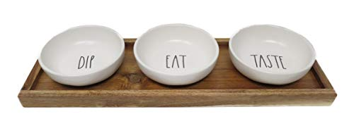 Rae Dunn By Magenta 4 Piece DIP EAT TASTE Ceramic LL Dip Bowl Serving Platter Set With Wood Tray 2019 Limited Edition 0 0