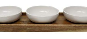 Rae Dunn By Magenta 4 Piece DIP EAT TASTE Ceramic LL Dip Bowl Serving Platter Set With Wood Tray 2019 Limited Edition 0 1 300x137
