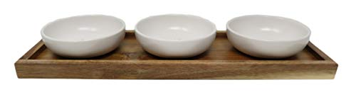 Rae Dunn By Magenta 4 Piece DIP EAT TASTE Ceramic LL Dip Bowl Serving Platter Set With Wood Tray 2019 Limited Edition 0 1