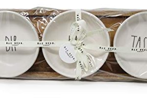Rae Dunn By Magenta 4 Piece DIP EAT TASTE Ceramic LL Dip Bowl Serving Platter Set With Wood Tray 2019 Limited Edition 0 2 300x200
