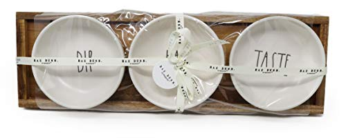 Rae Dunn By Magenta 4 Piece DIP EAT TASTE Ceramic LL Dip Bowl Serving Platter Set With Wood Tray 2019 Limited Edition 0 2