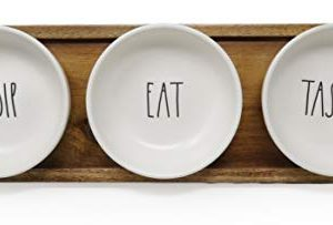 Rae Dunn By Magenta 4 Piece DIP EAT TASTE Ceramic LL Dip Bowl Serving Platter Set With Wood Tray 2019 Limited Edition 0 300x203