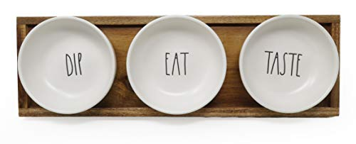 Rae Dunn By Magenta 4 Piece DIP EAT TASTE Ceramic LL Dip Bowl Serving Platter Set With Wood Tray 2019 Limited Edition 0