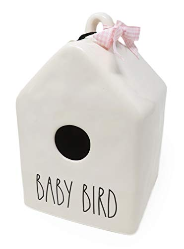 Rae Dunn By Magenta BABY BIRD Ceramic LL Decorative Birdhouse With Pink White Check Ribbon 2020 Limited Edition 0