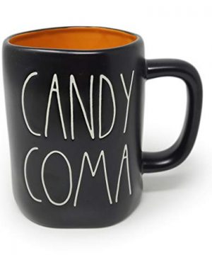 Rae Dunn By Magenta CANDY COMA Black Ceramic LL Coffee Tea Mug With Orange Interior White Letters 2020 Limited Edition 0 300x360