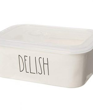 Rae Dunn By Magenta DELISH Ceramic LL Medium Square Food Storage Bowl Container With Lid 2020 Limited Edition 0 300x360