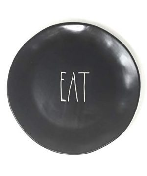 Rae Dunn By Magenta EAT Black Ceramic LL 11 Inch Dinner Plate With White Letters 0 300x360