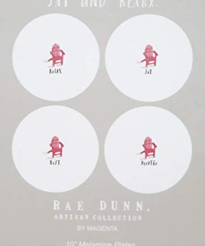 Rae Dunn By Magenta RELAX REST BREATHE SIT 4 Piece Melamine 8 Inch Side Salad Plates Set With Red Adirondack Beach Chair Icon Art Images 0 1 300x360