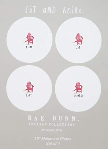 Rae Dunn By Magenta RELAX REST BREATHE SIT 4 Piece Melamine 8 Inch Side Salad Plates Set With Red Adirondack Beach Chair Icon Art Images 0 1