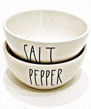 Rae Dunn By Magenta SALT PEPPER Ceramic 2 Piece Set Mini Seasoning Bowls Large Letter LL 0 300x360