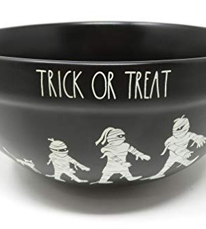 Rae Dunn By Magenta TRICK OR TREAT Black Ceramic Mummy Icon LL Serving Mixing Bowl 2019 Limited Edition 0 300x334