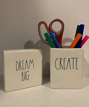 Rae Dunn CREATE Pencil Holder DREAM BIG Paperweight Set Ceramic Office Desk Organizer Friend Boy Father Mother Co Worker Gift 0 300x360