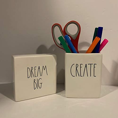 Rae Dunn CREATE Pencil Holder DREAM BIG Paperweight Set Ceramic Office Desk Organizer Friend Boy Father Mother Co Worker Gift 0