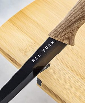 Rae Dunn Collection 3 Piece Bon Appetit Bamboo Cutting Board And Knife Set Chopping Board Mini Charcuterie Board For Meat Fruit And Cheese Board Black 0 0 300x360