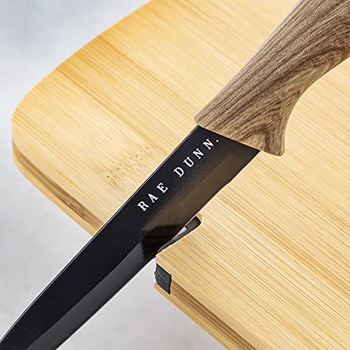 Rae Dunn Collection 3 Piece Bon Appetit Bamboo Cutting Board And Knife Set Chopping Board Mini Charcuterie Board For Meat Fruit And Cheese Board Black 0 0