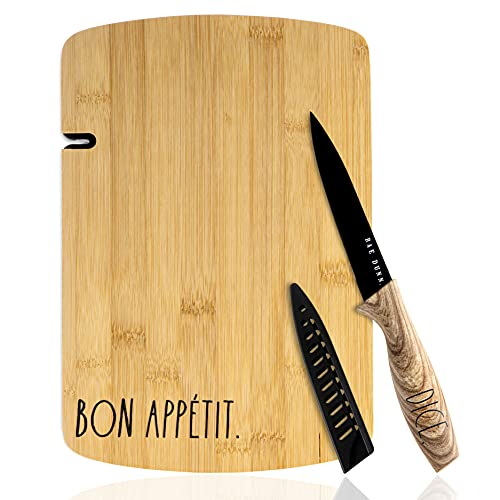Rae Dunn Collection 3 Piece Bon Appetit Bamboo Cutting Board And Knife Set Chopping Board Mini Charcuterie Board For Meat Fruit And Cheese Board Black 0