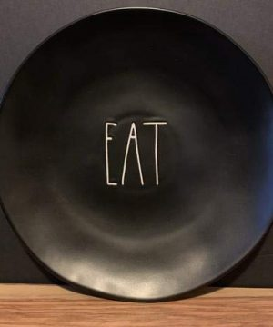 Rae Dunn EAT Plate Set Of 2 11 Inches Black Ceramic 0 300x360