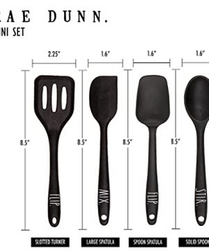 Rae Dunn Everyday Collection 4 Piece Mini Kitchen Utensil Set Silicone Kitchen Tools With Spatulas And Spoons Black 0 3 300x360