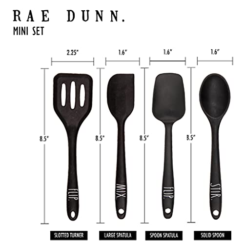 Rae Dunn Everyday Collection 4 Piece Mini Kitchen Utensil Set Silicone Kitchen Tools With Spatulas And Spoons Black 0 3